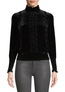 FRAME Ruffled Velvet Turtleneck Top