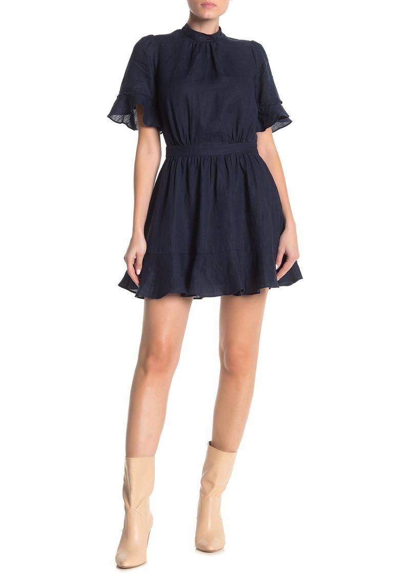 FRAME Scallop Flounce Linen Blend Dress