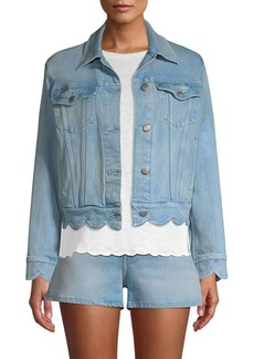 FRAME Scalloped Edge Denim Jacket