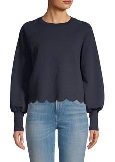 FRAME Scalloped Hem Crewneck Sweatshirt