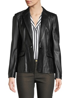 FRAME Schoolboy Single-Button Leather Blazer