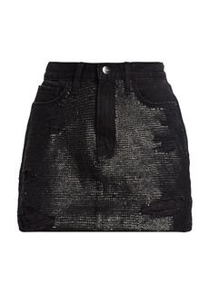 FRAME Sequin Distressed Mini Denim Skirt