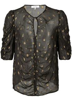 FRAME shirred keyhole blouse