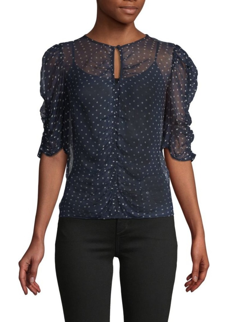 FRAME Shirred Polka-Dot Top