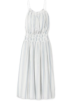FRAME Shirred Striped Cotton-voile Midi Dress