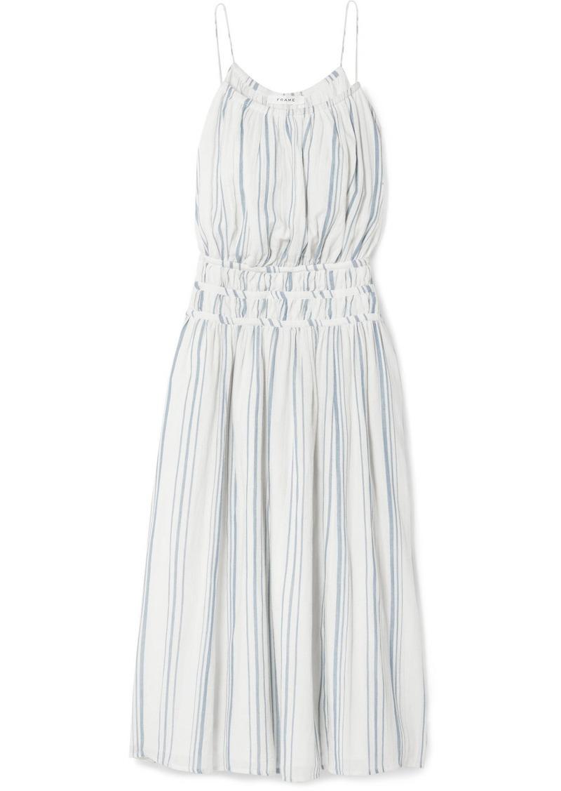 FRAME Shirred Striped Cotton-voile Midi Dress