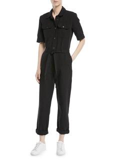 FRAME Short-Sleeve Button-Down Belted Straight-Leg Cotton-Linen Jumpsuit