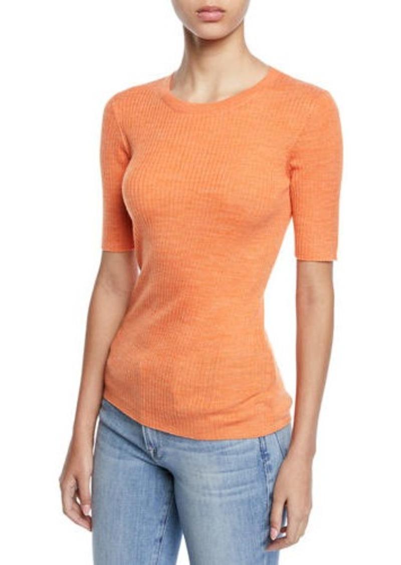Short-Sleeve Ribbed Crewneck Sweater