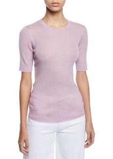 FRAME Short-Sleeve Ribbed Crewneck Sweater