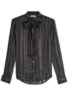 FRAME Silk Chiffon Blouse with Metallic Thread