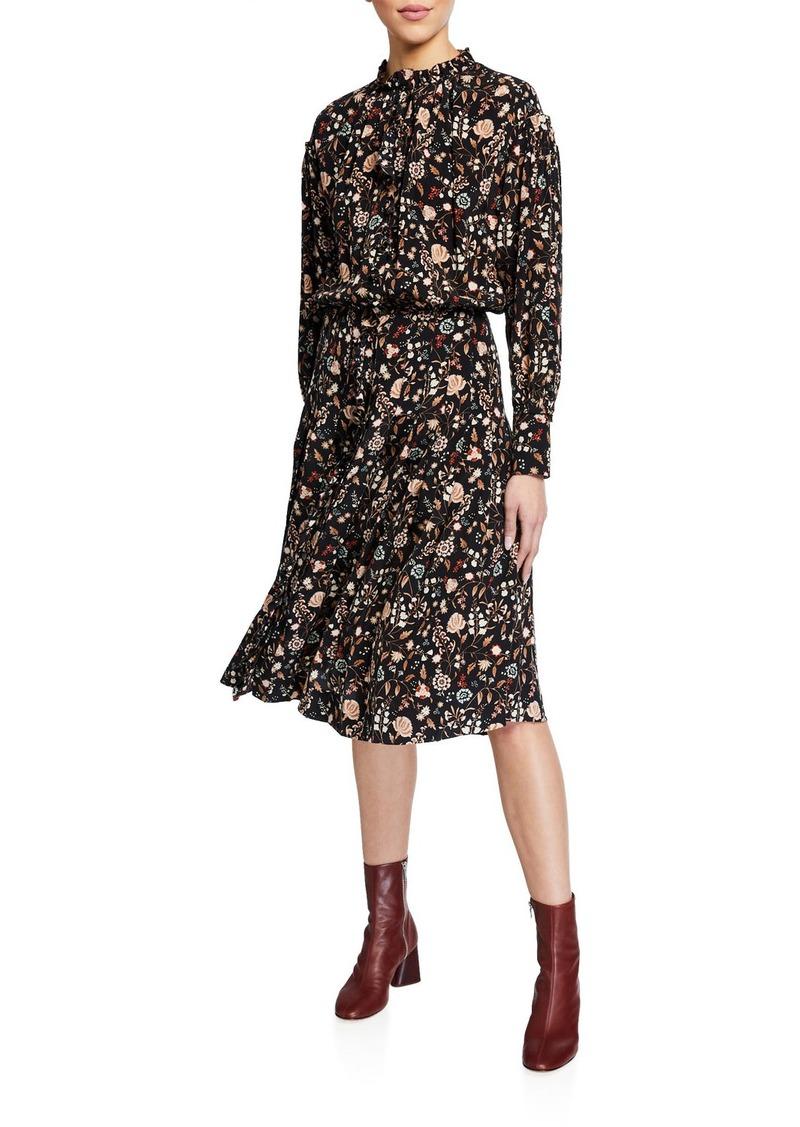 FRAME Silk Ruffle-Front Midi Dress