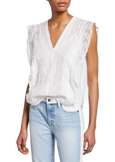 FRAME Sleeveless Lace Pintuck Blouse