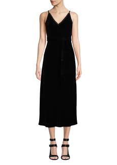 FRAME Sleeveless Velvet Midi-Length Slip Dress