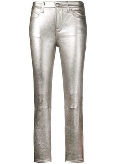 FRAME slim-fit leather trousers