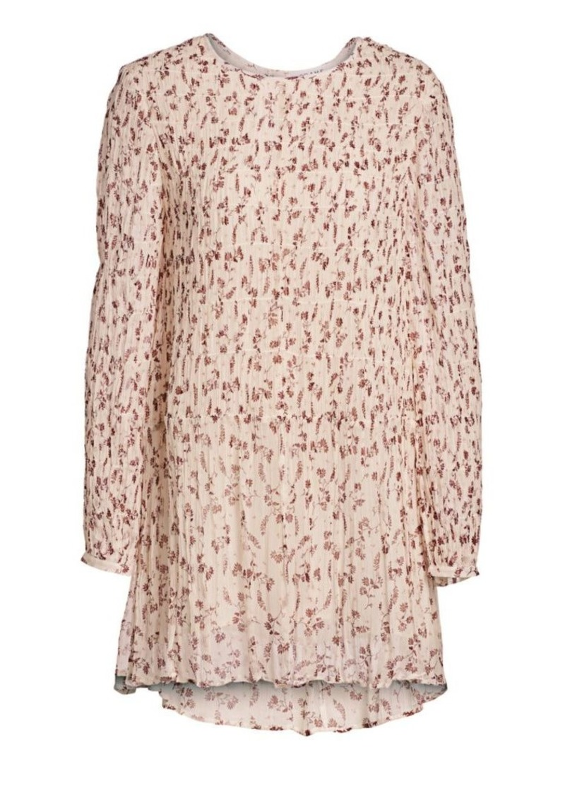 FRAME Smocked Floral Shift Dress