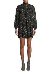 FRAME Smocked Metallic Long-Sleeve Mini Dress