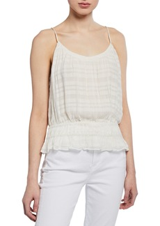 FRAME Smocked Scoop-Neck Tank