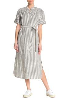 FRAME Stripe Linen Blend Wrap Dress