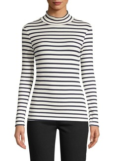FRAME Stripe Rib-Knit Mockneck Sweater