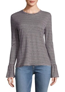 FRAME Striped Bell-Sleeve Top