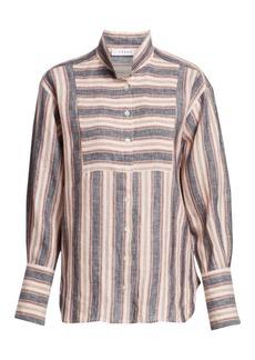 FRAME Striped Bib Linen Button-Down Shirt