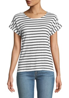 FRAME Striped Linen Dolman-Sleeve Tee