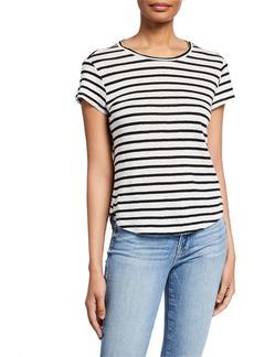FRAME Striped Linen Short-Sleeve Tee