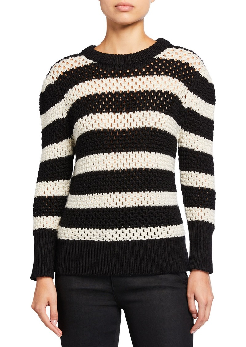FRAME Striped Open-Knit Crewneck Sweater