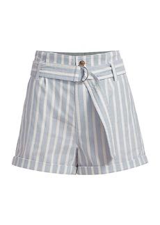 FRAME Striped Paperbag Shorts