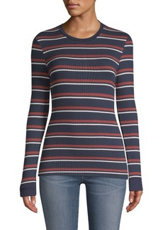 FRAME Striped Ribbed Knit Pullover