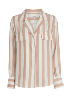 FRAME Striped Silk Button Down Blouse