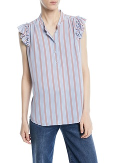 FRAME Striped Sleeveless Ruffle Button-Front Top