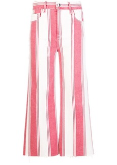 FRAME stripped crop trousers