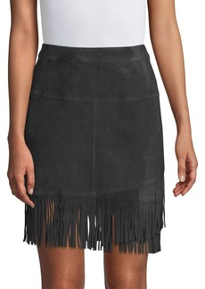 FRAME Suede Fringe Mini Skirt