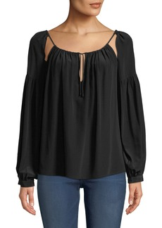 FRAME Tie-Up Long-Sleeve Silk Peasant Top