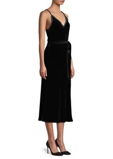 FRAME Tie-Waist Velvet Midi Slip Dress