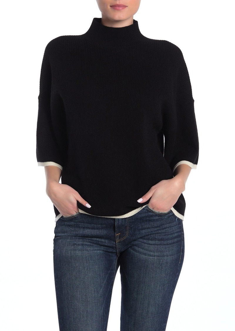 FRAME Tipped Mock Neck Cashmere Sweater