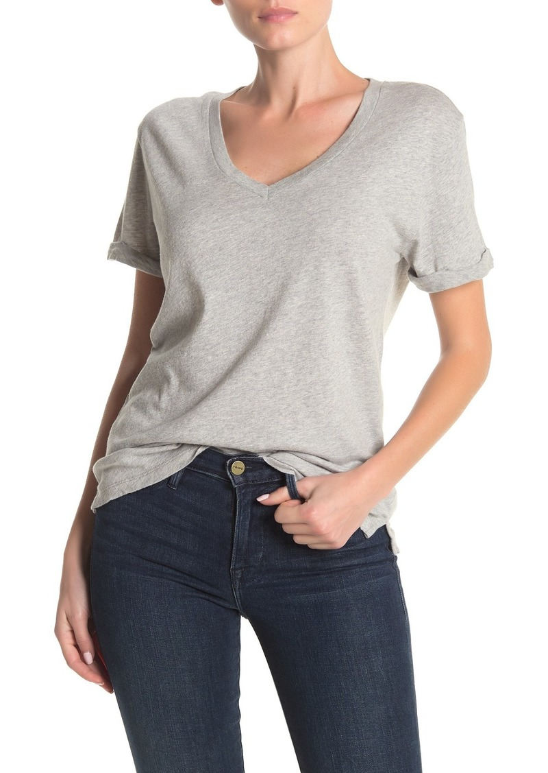FRAME V-Neck Cuffed Short Sleeve T-Shirt