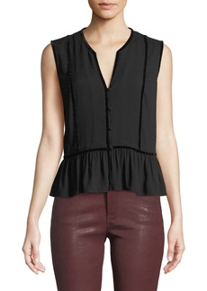 FRAME V-Neck Sleeveless Peplum Top w/ Velvet Trim