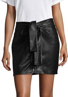 FRAME Waist Tie Leather Mini Skirt