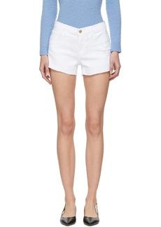 FRAME White 'Le Cut Off' Tulip Hem Shorts