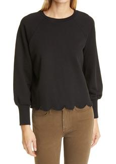 Women's Frame Scallop Bishop Sleeve Sweatshirt