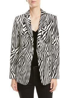 FRAME Zebra-Print Single-Button Blazer