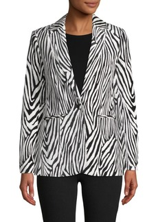 FRAME Zebra Striped Cotton-Blend Blazer