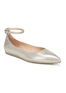 Franco Sarto Alex Leather Ankle-Strap Ballet Flats