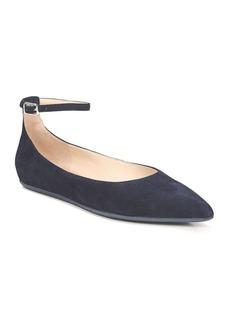 Franco Sarto Alex Suede Ankle-Strap Ballet Flats