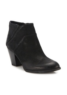 Franco Sarto Side Zipper Suede Ankle Boots