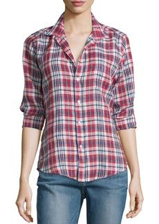 Frank & Eileen Barry Plaid Linen Long-Sleeve Shirt