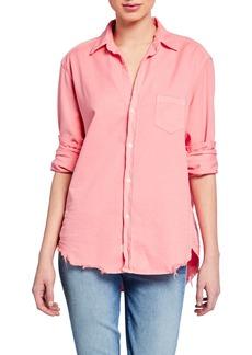 Frank & Eileen Button-Down Long-Sleeve Frayed-Hem Cotton Shirt  Candy Pink