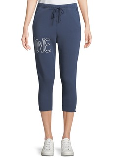 Frank & Eileen Cropped Love Raw-Edge Graphic Sweatpants